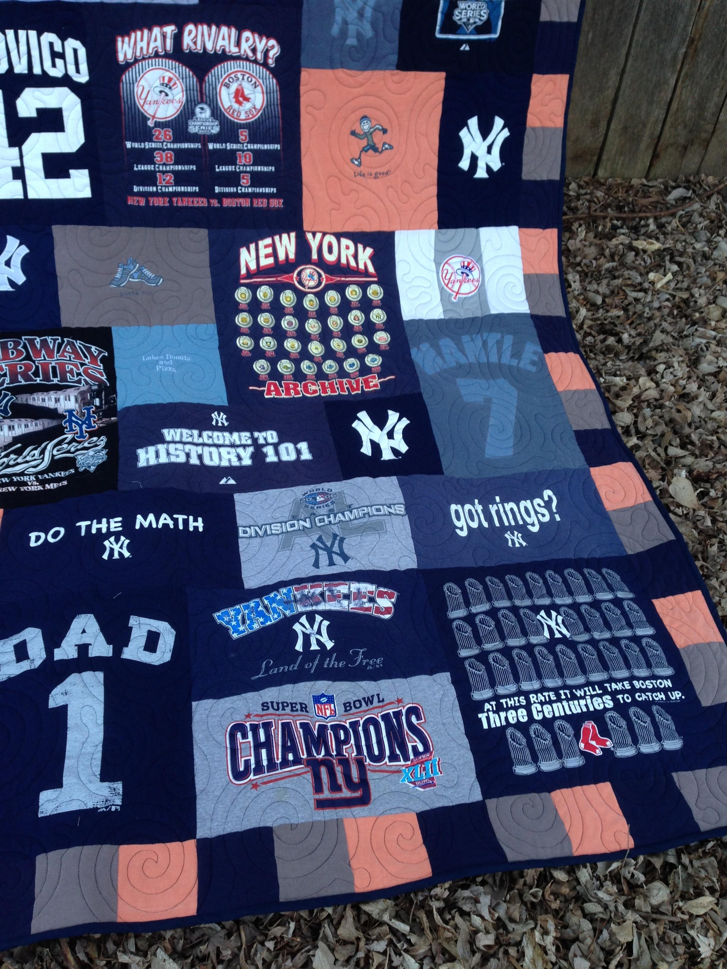 Spring Training t-shirt quilt, Yankees t-shirt quilt, official gear t-shirt quilt