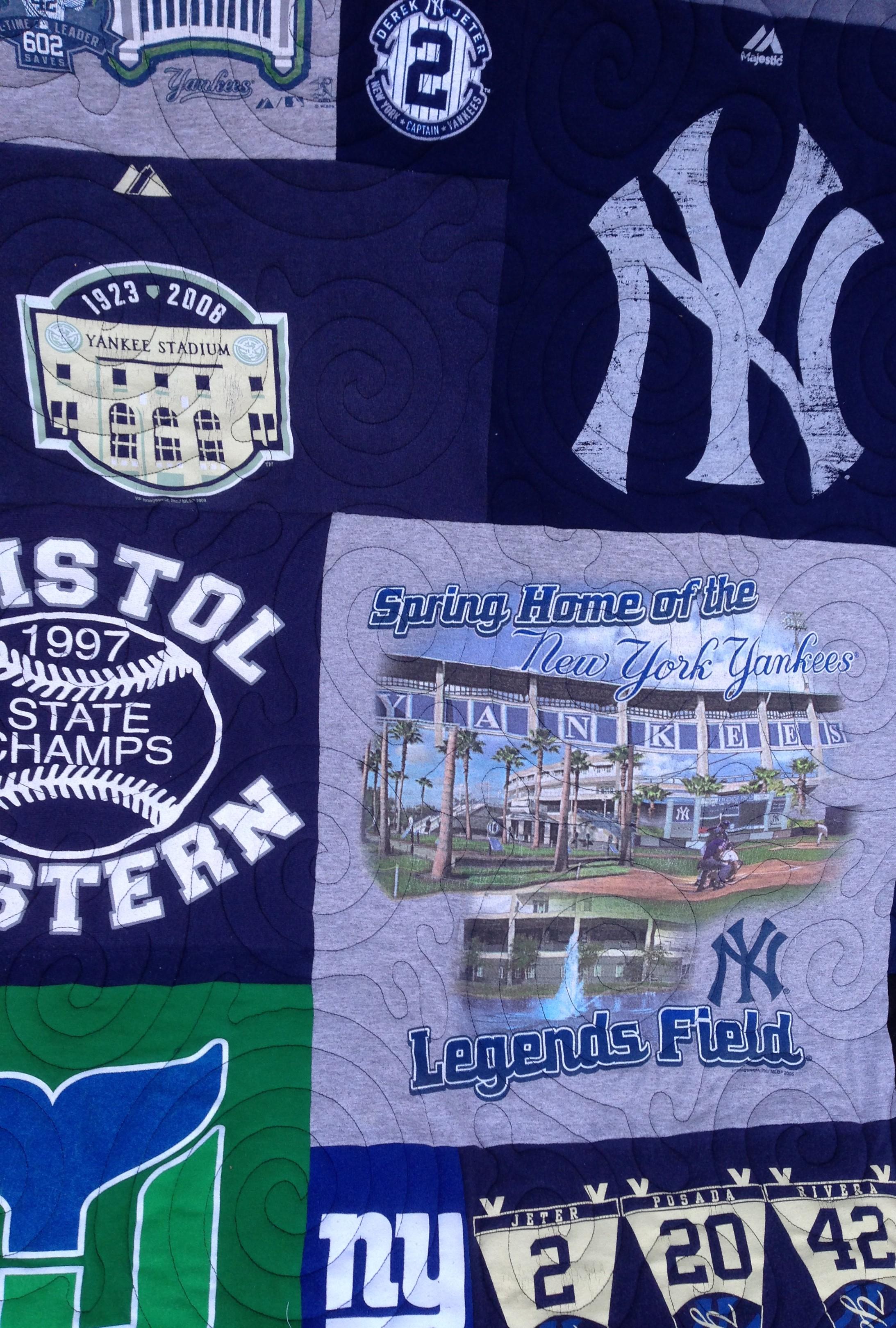 baseball t-shirt quilt, Legends Field t-shirt quilt, Yankees t-shirt quilt
