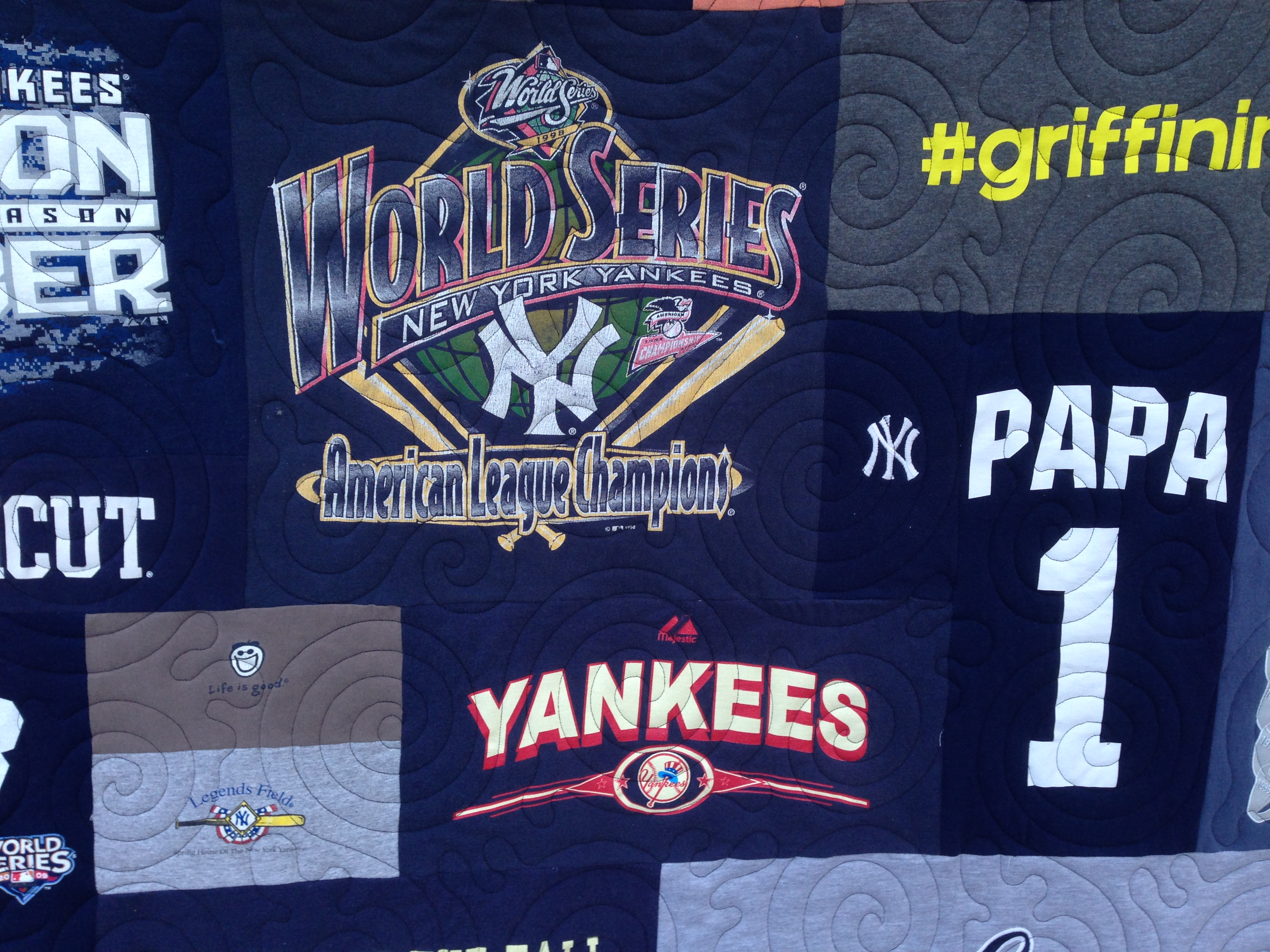 memory t-shirt quilt, official t-shirt quilt, Yankees t-shirt quilt