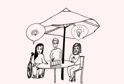 illustration of group of people planning outside what they are going to be doing