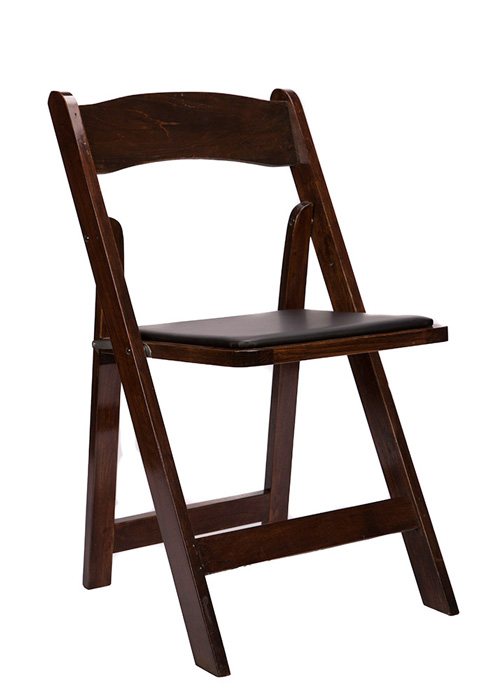 Folding Chair Fruitwood Wood with Black Vinyl Padded Seat $29.95