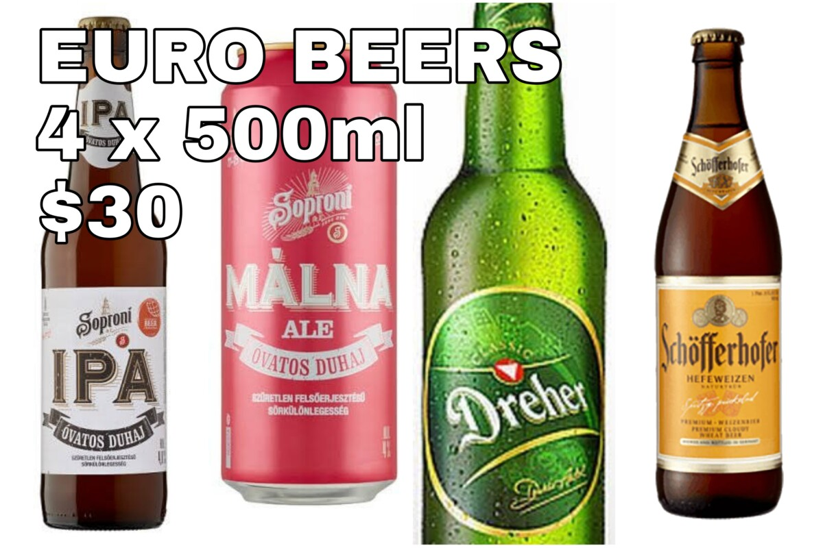 4 x 500ml PREMIUM BEERS ONLY $30
