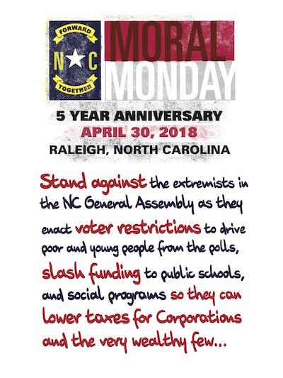 Moral Monday Promo Materials Raleigh NC