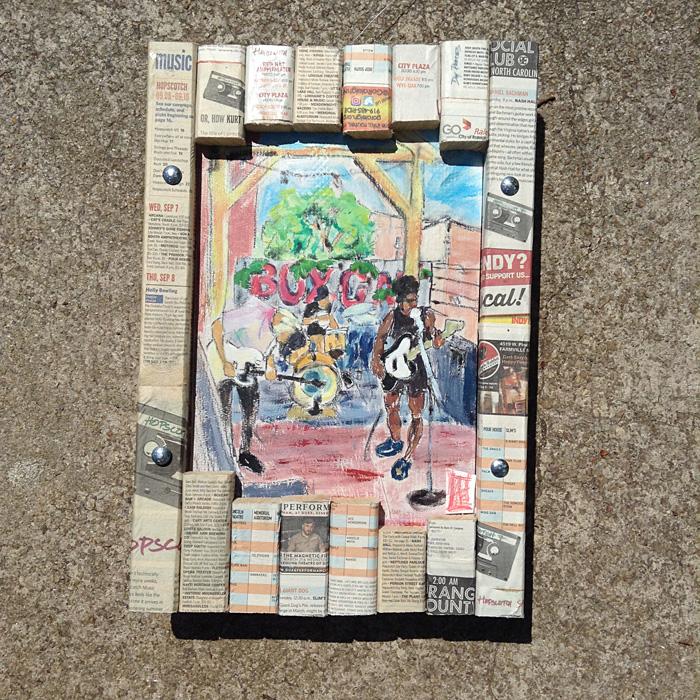 boxcar bar mixed media art raleigh