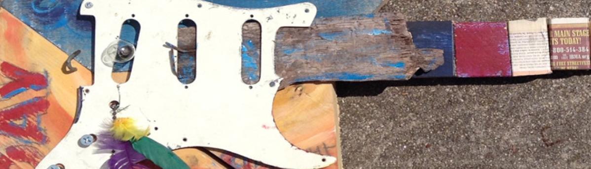funky folk art guitar day and night