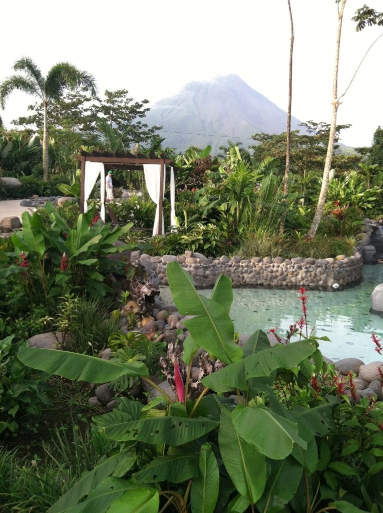 Hot springs pool in a hotel at the base of Arenal Volcano in Costa Rica