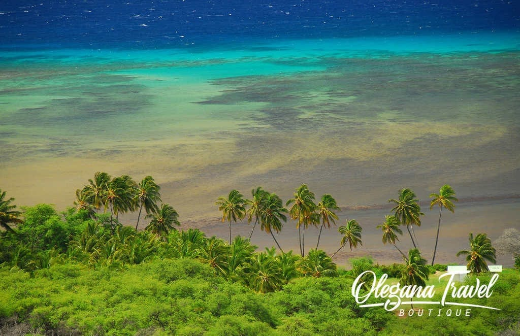 View from Diamond Head Crater, Kawela Beach Park, Molokai, Hawaii