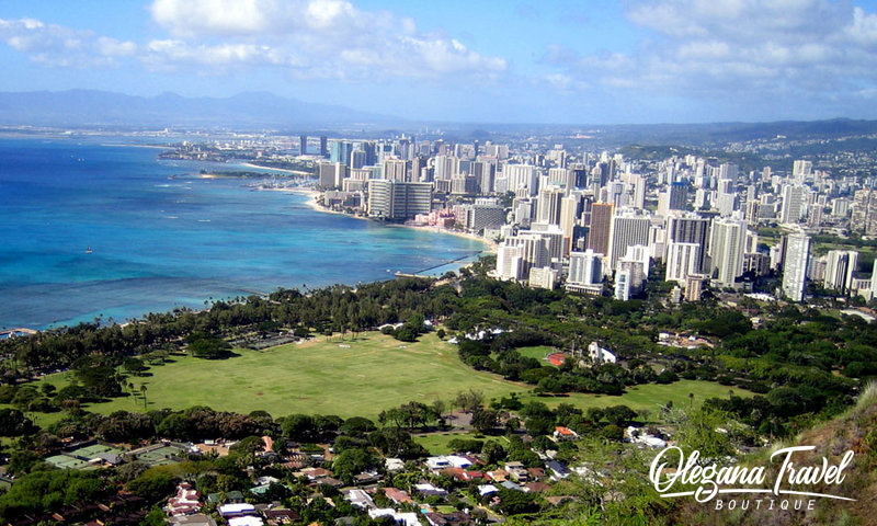 The best Hawaii Island for a Family Vacation, View from Diamond Head Crater, Waikiki Beach, Honolulu, Oahu, Hawaii