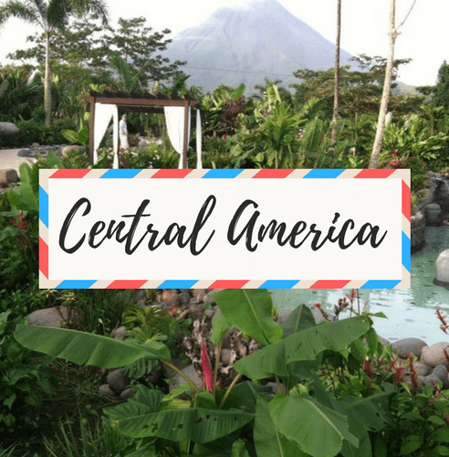 """image of Arenal Volcano and Hot Springs in Costa Rica - with large text in the middle that says """"Central America"""""""