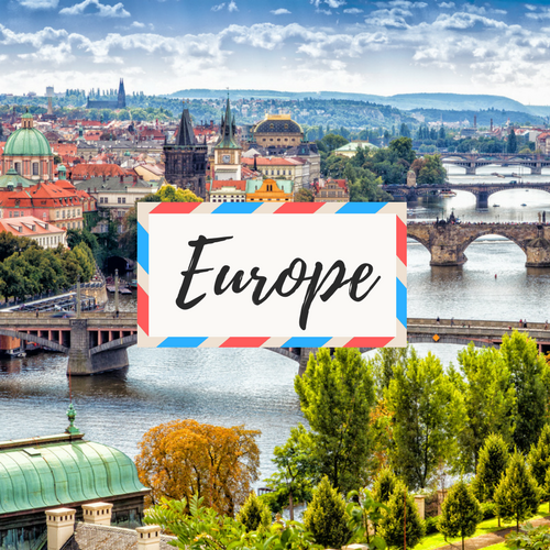 """image of Prague a City in Czech Republic - with large text in the middle that says """"Europe"""""""