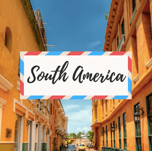 """image of Cartagena in Colombia - with large text in the middle that says """"South America"""""""