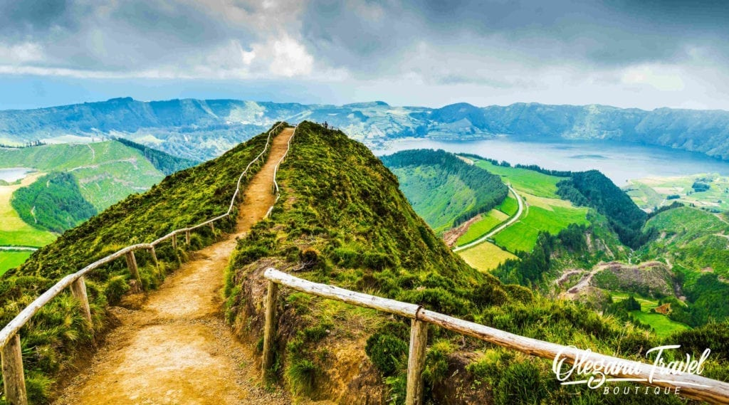 Walking path leading to a view on the lakes of Sete Cidades, Azores, Portugal