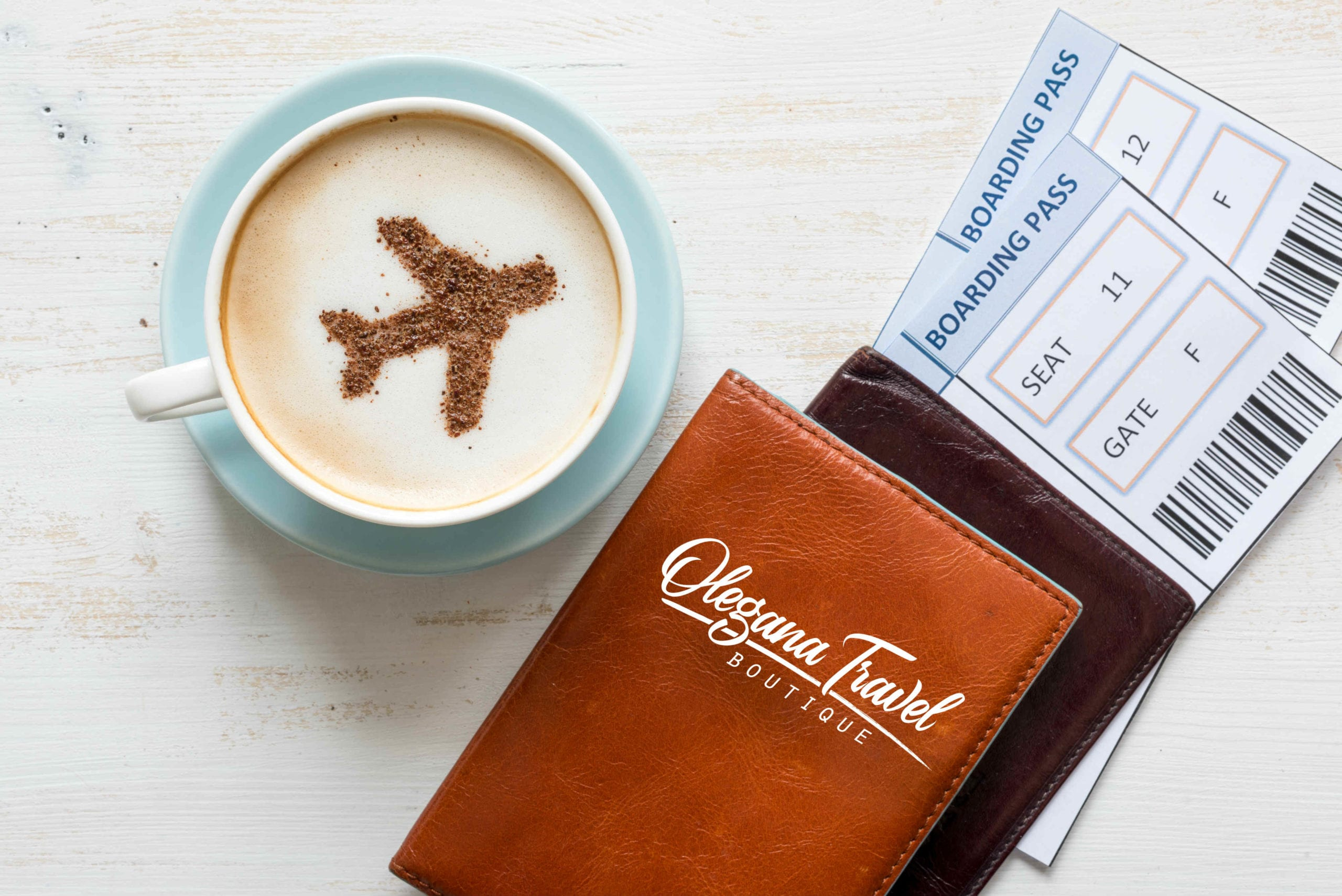 Olegana Travel Boutique, coffee and passport cover