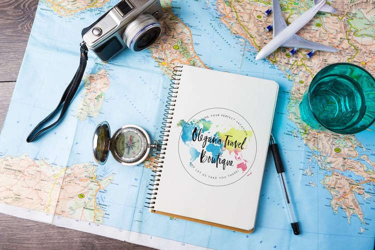 Image of a map and Olegana Travel Boutique logo on it