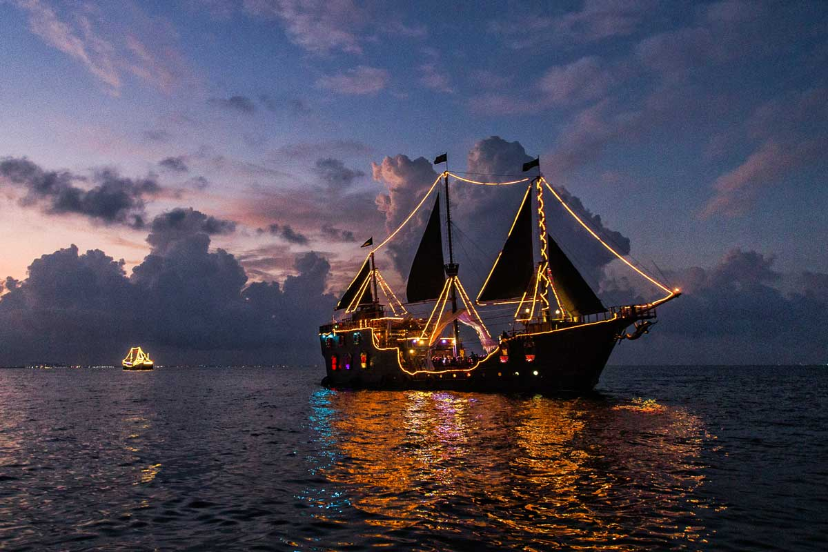New Years Eve Celebration on a pirate ship in Cancun