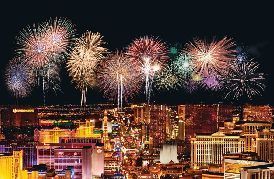 Fireworks over Las Vegas Strip of Hotels