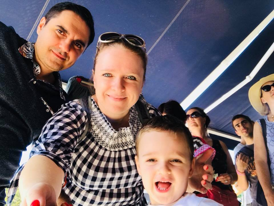 Family selfie of Travel Agent, husband, and son in Portugal