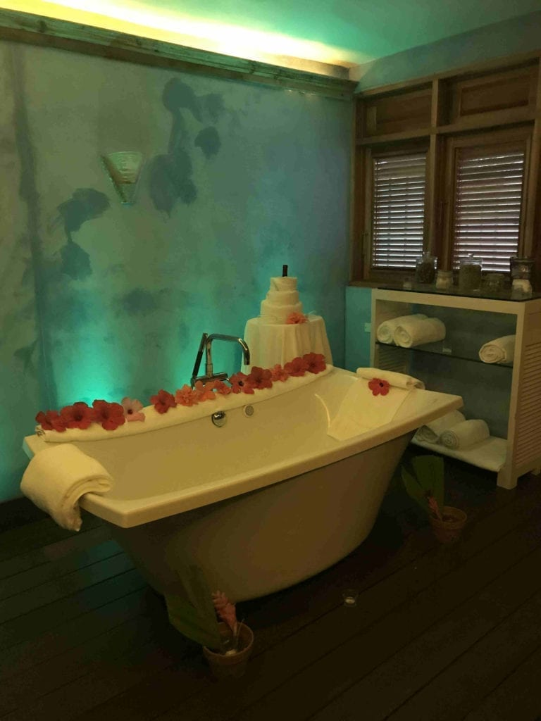 Bathtub with flowers at the Spa at Couples Swept Away, Negril