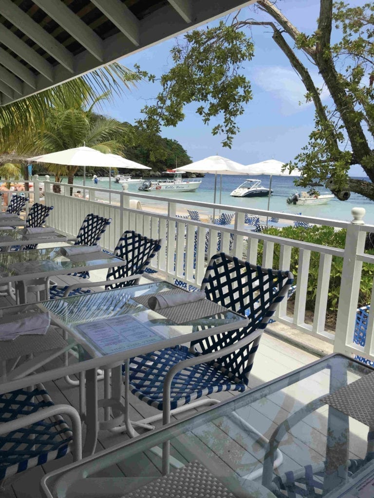 View from the beachfront restaurant at Couples San Souci Adults Only Resort, Ocho Rios, Jamaica