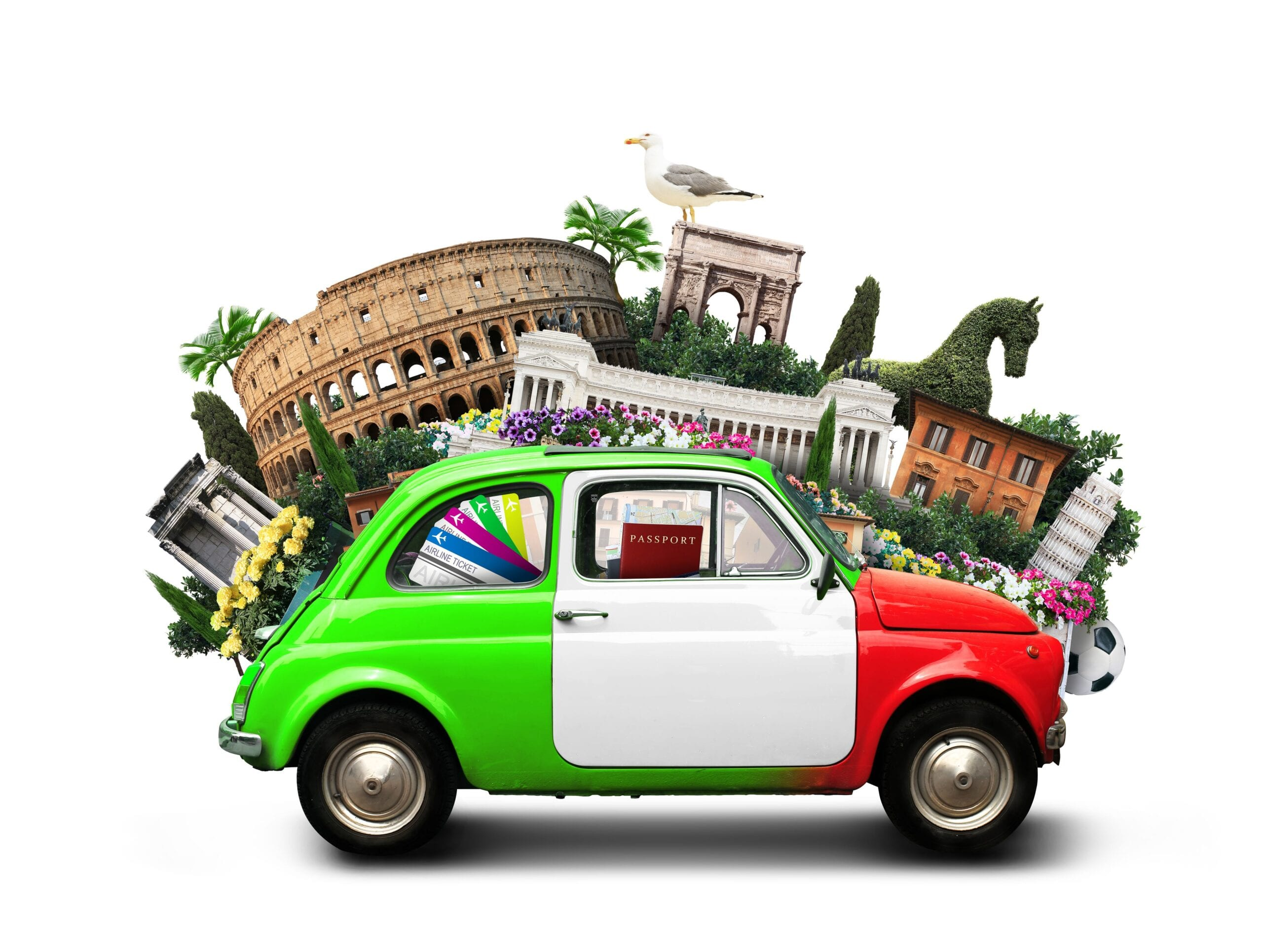 image of Italian vintage car with Italian colors and famous landmarks in Italy behind it.