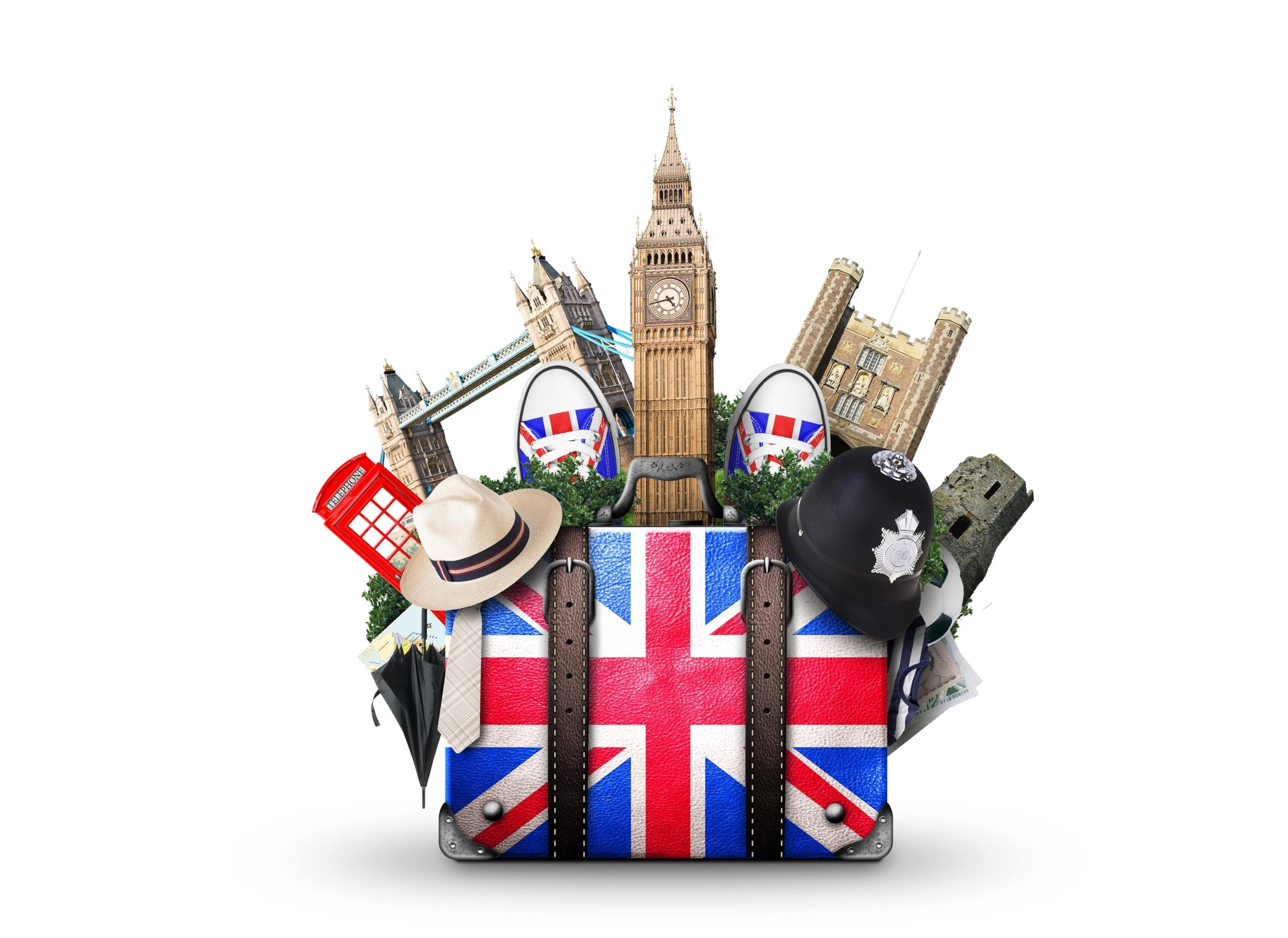 Image of a suitcase with England flag and England landmarks in the background