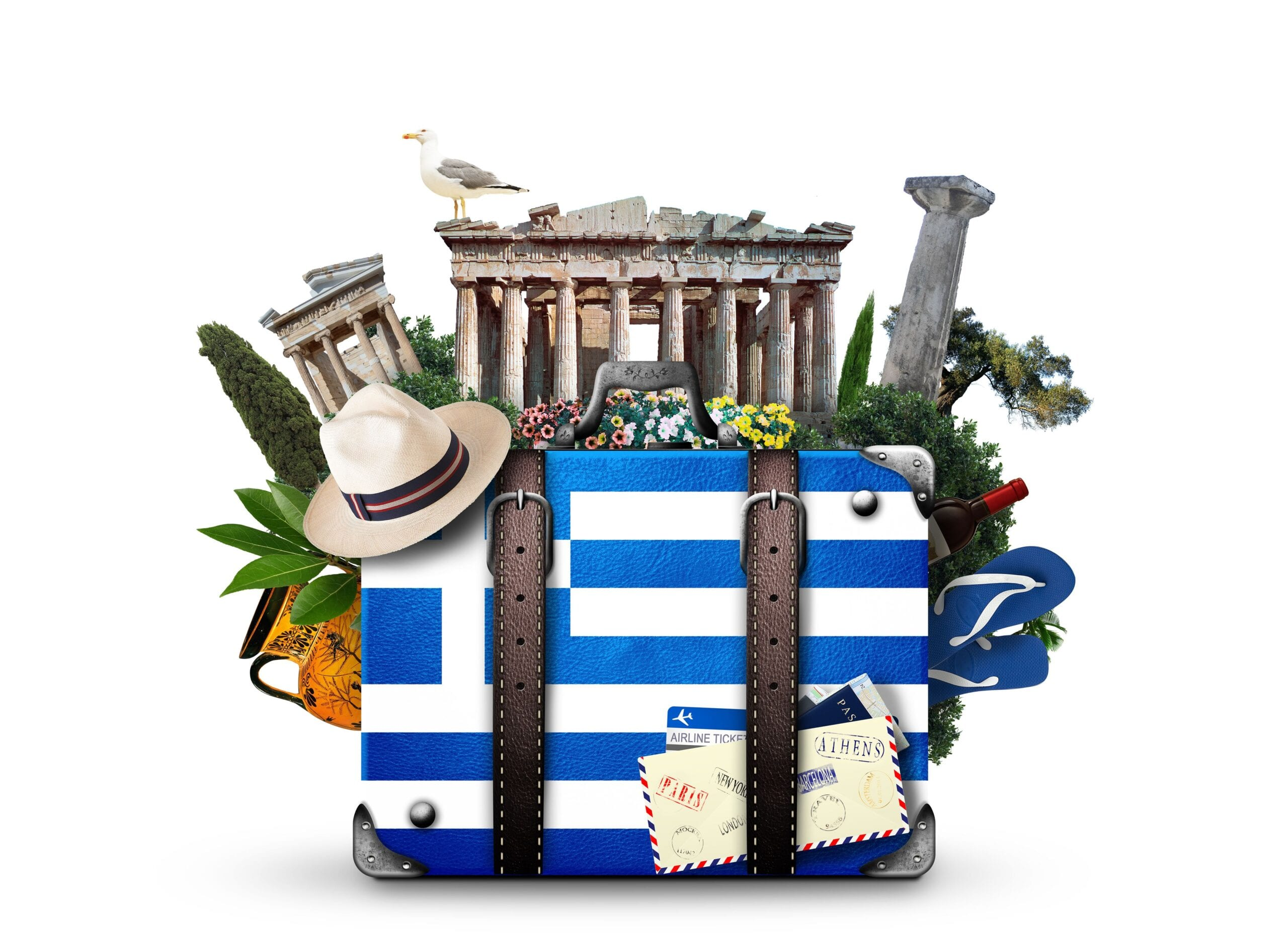 Image of a suitcase with Greece flag and Greece landmarks in the background
