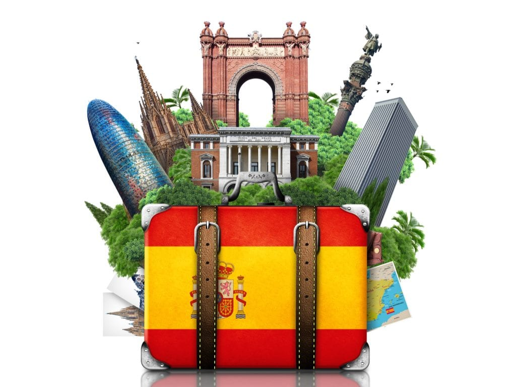 Image of a suitcase with Spain flag and Spain landmarks in the background