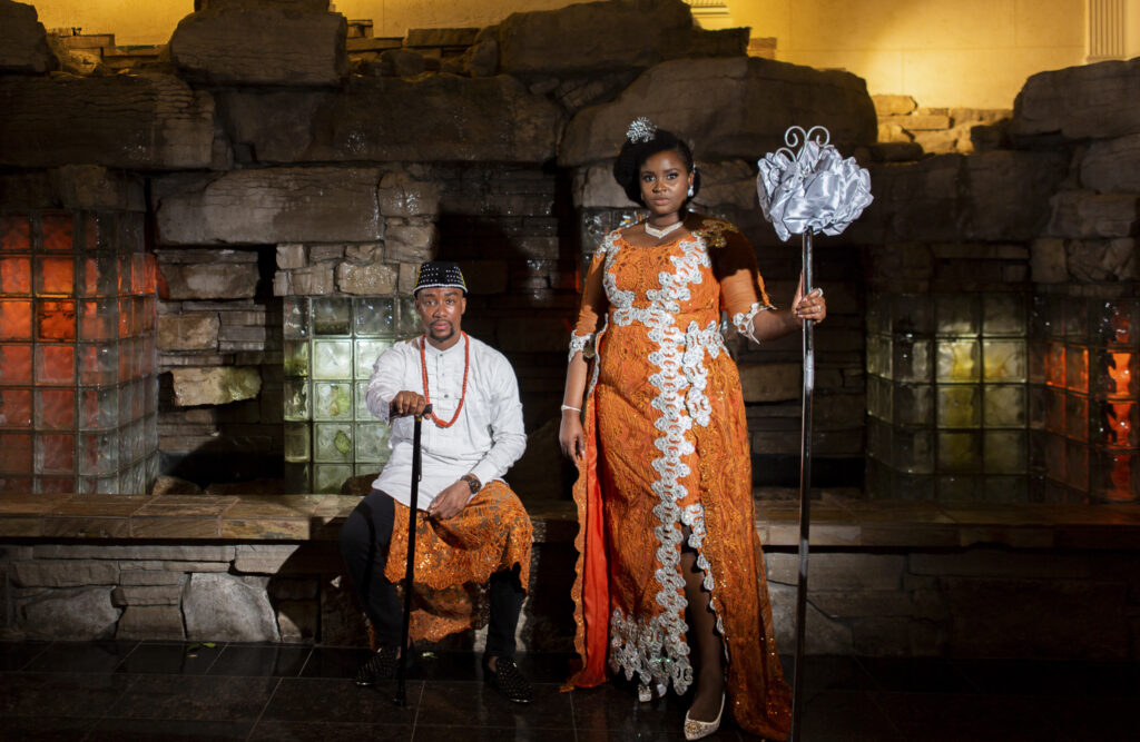 Nigerian wedding couple wearing traditional African clothing