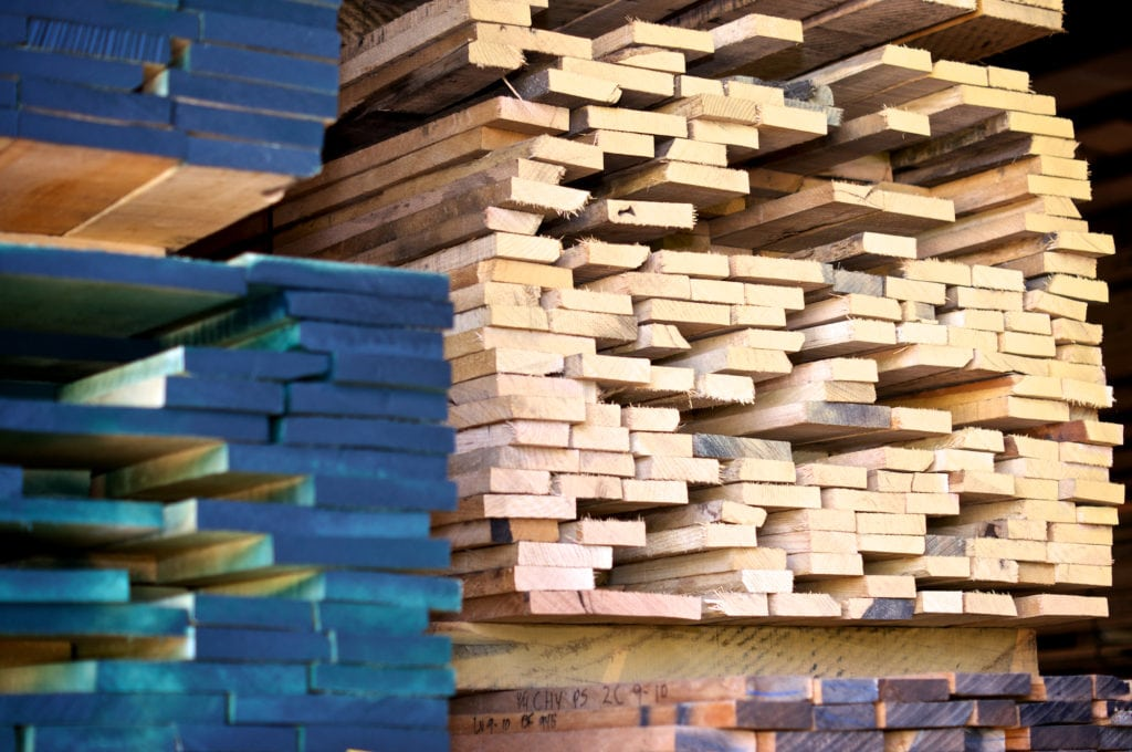 stacks of lumber