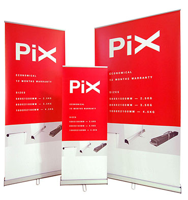 Pix pull up banner stands family
