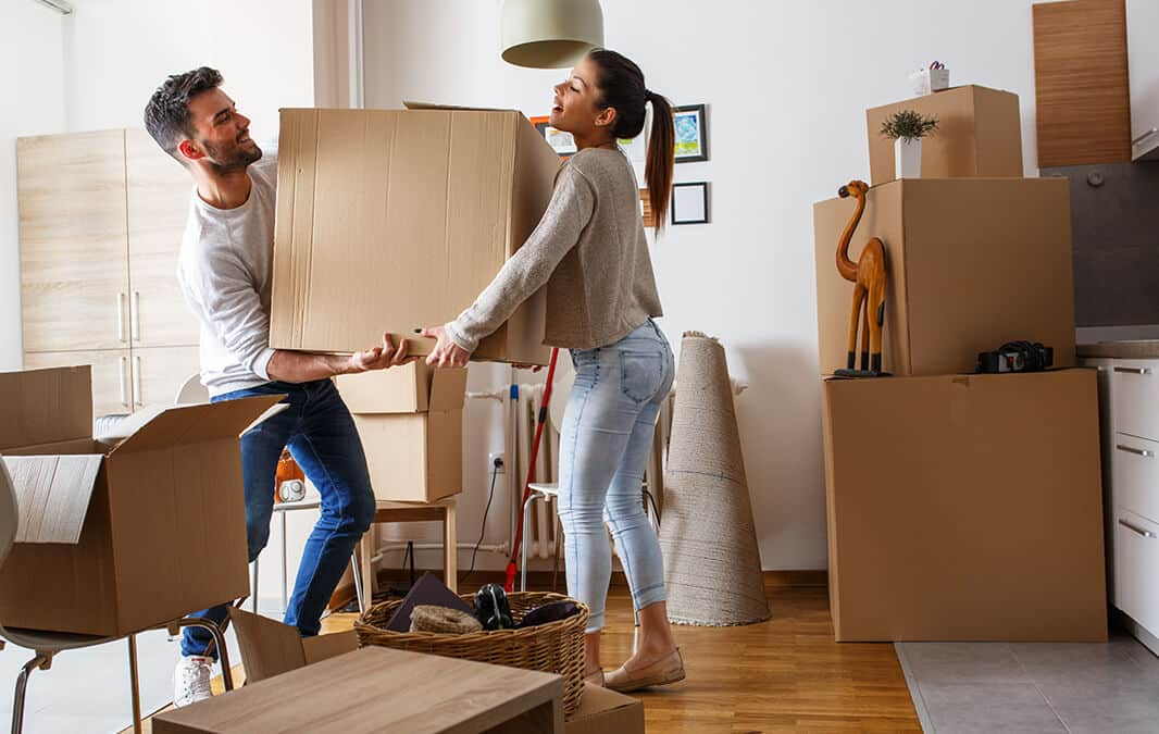 man and woman moving in