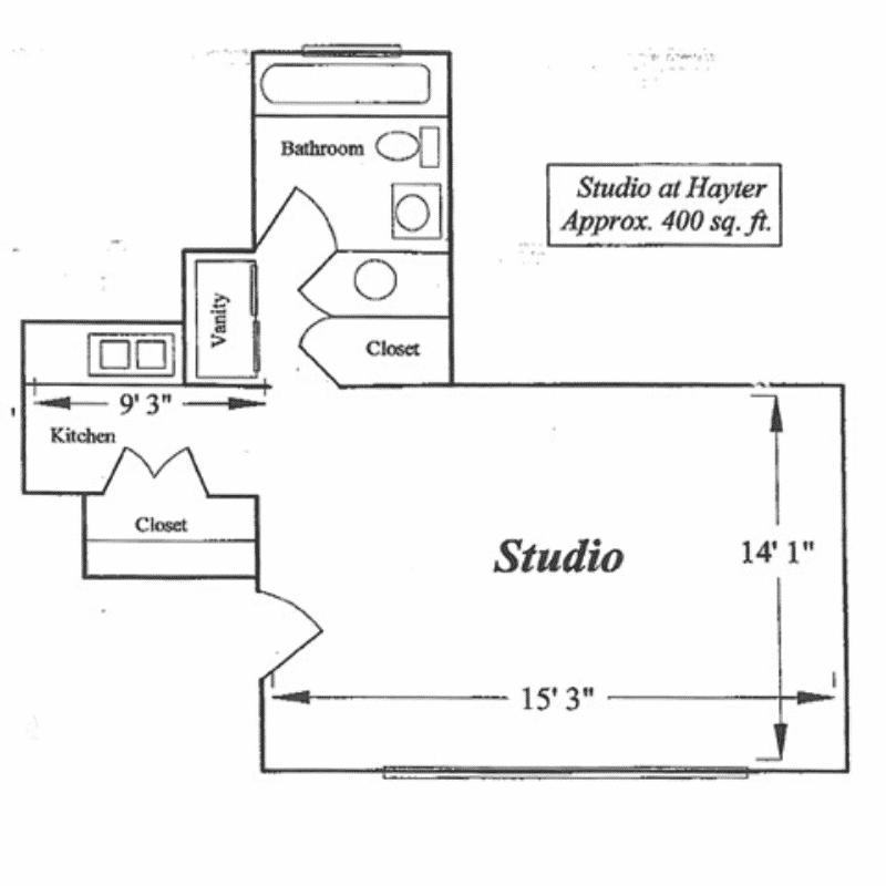 Studio 1 bath Choose between 630, and 700 Sq. Ft. floor plan