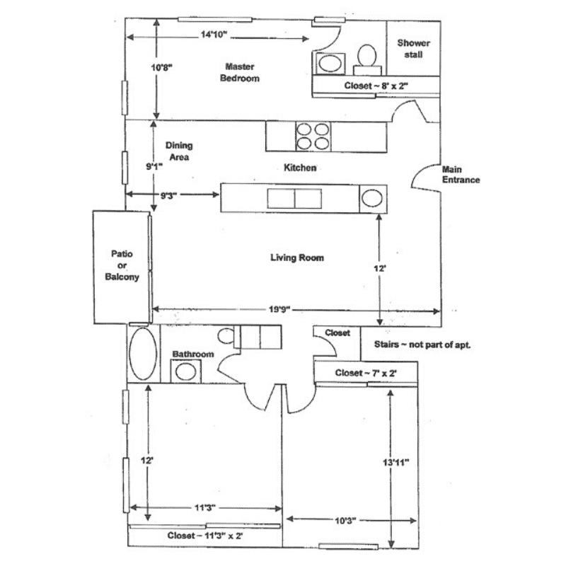 3 BED 2 BATH 1,113 – 1,295 Sq. Ft. floor plan