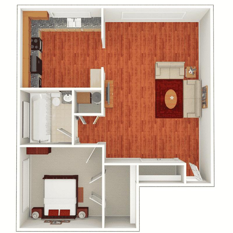 1 BED 1 BATH 561 – 606 Sq. Ft. floor plan