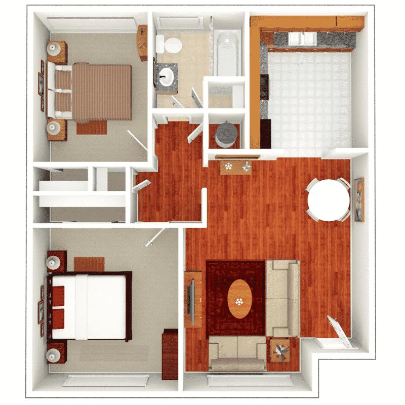 2 BED 1 BATH 769 – 915 Sq. Ft. floor plan