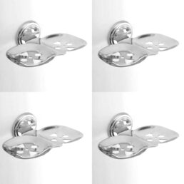 INDOROX Stainless Steel Double Soap Dish Stand for Bathroom Pack of 4, Silver