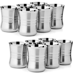 Glass Stainless Steel Sliver Touch Set of 12 for Water Tea