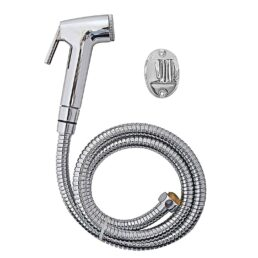 Health Faucet Shower Toilet Jet Spray with 1 m Flexible Hose with Wall Bracket (Silver, Standard Size)