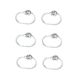 Heavy Oval Towel Ring Stand Stainless Steel for Bathroom Kitchen Washbasin Pack of 6, Silver