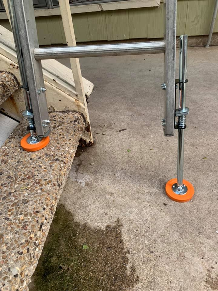 Leg levelers make using ladders more safe and less chance to fall