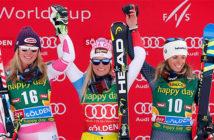 Lara Gut, center, winner of an alpine ski, women's World Cup.