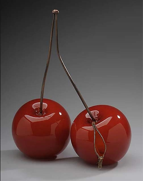 'Two' by Stephanie Chubbuck - Blown and cold worked ruby glass, cast bronze and mixed media, 18 inches high by 14 inches wide by 7 inches deep.