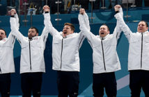 USA Shocks the world. Team USA celebrates after winning the gold medal in curling. Image Credit: James Lang, USA Today Sports, 2018.