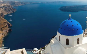 Santorini - Five Cycladic islands surround a colossal volcanic caldera. Image Credit: Sylvain Sonnet / Getty Images.