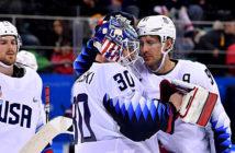 Czechs oust Team USA - Goaltender Ryan Zapolski (30) and defender Matt Gilroy (97) after the shootout loss to the Czech Republic. Image Credit: Andrew Nelles, USA Today Sports, 2018.