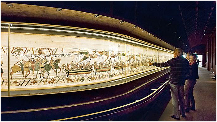 Bayeux Tapestry has had a purpose-built home since 1983, having once been kept at Bayeux Cathedral. Image Credit: Alamy, 2018.