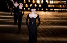 Paris Fashion Week. Body skirt and big necklines, at the Yves Saint Laurent fashion show. Image Credit: Etienne Laurent / EFE, 2018.