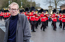 Great Western Railway, a royal adventure in Windsor. Writer Mike Pattenden with the Band of the Grenadier guards. Image Credit: Getty Images / The Times, London, UK, 2018.