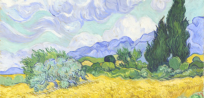 From Manet to Cézanne review - Van Gogh 's. A Wheatfield, with Cypresses, painted in the summer of 1889,