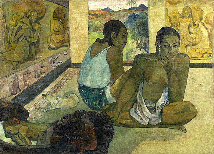 From Manet to Cézanne review. - Gauguins from his soujourn in the South Pacific, Nevermore, 1897, showing his Tahitian mistress, and his Te Rerioa, 1897